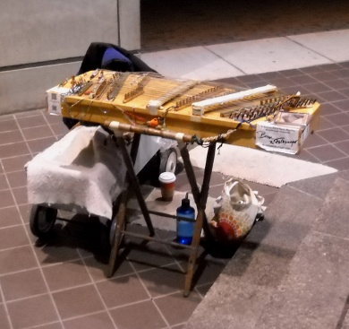 The dulcimer set up, a overhead view from the top of a three step ascent to a breezeway passage