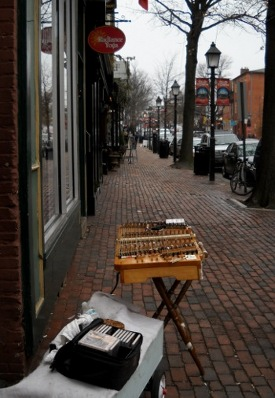 the dulcimer set up on an empty street