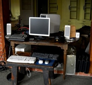studio computer set up on a table
