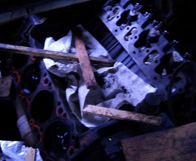 taken apart van engine