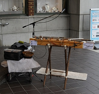 Dulcimer setup in the Atrium of the Torpedo Factory Art Center