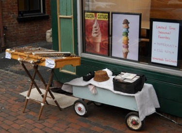 Duli setup to play aoutside the icecream shop