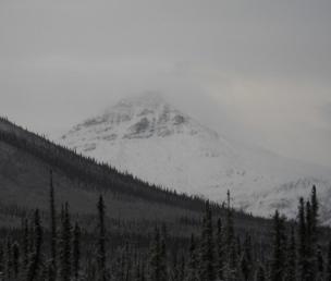 Alaskan mountain in a snowstorm
