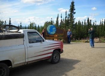 my Ranger pickup at the Arctic Circle sign