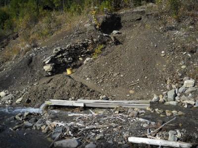 sluice in the creek below the dig