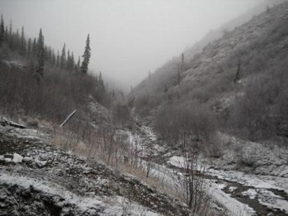 Alaska mountain valley in snow