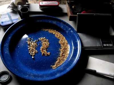 blue enamel plate with the summers gold