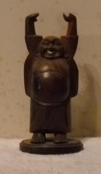 wodden laughing buddha