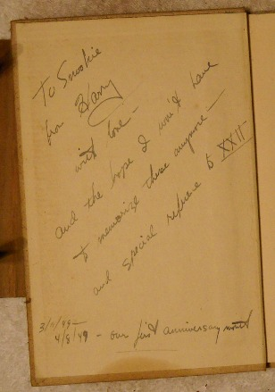 book inscription from dad to mom, 1949
