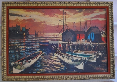 painting of wharf at sunset