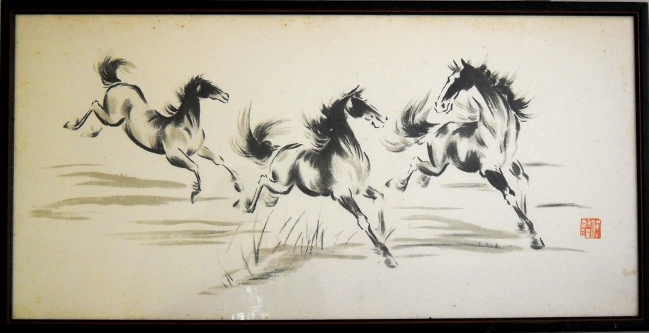 chinese print, running horses