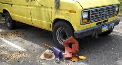 van with gear
