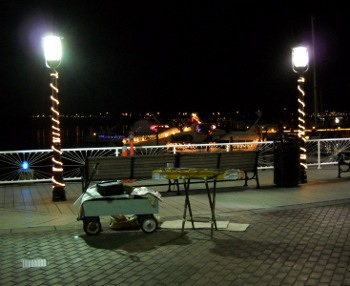 The dulcimer set up on the waterfront at night