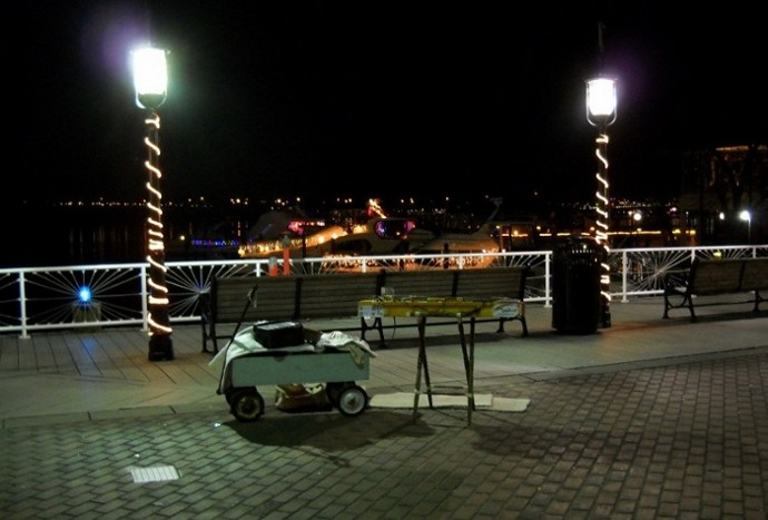 The dulcimer setup on the waterfront at night, New Year's eve