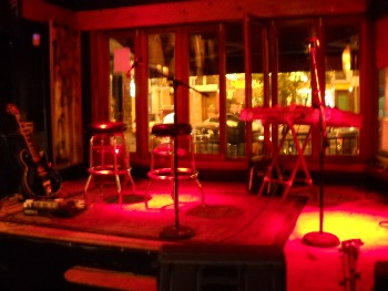 a view of the dulci setup on stage, Bossa Bistro in Adams-Morgan, DC