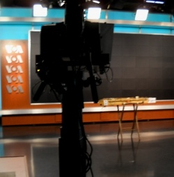 dulci in Voice of America TV studio, seen from behind the camera