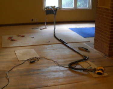 sanding the livingroom floor