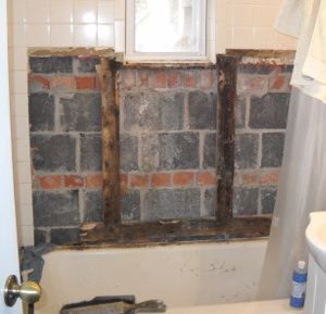 Bathroom wall torn out