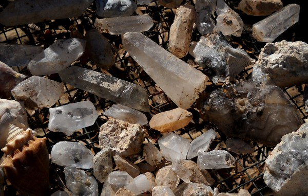 closeup of quartz crystals laid out in the sun