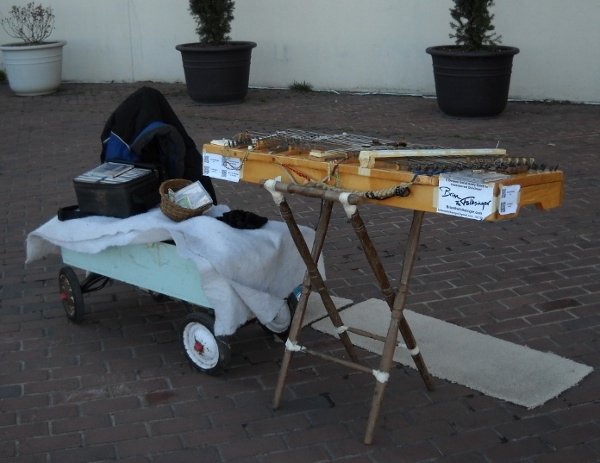 Dulcimer set up to perform on the street