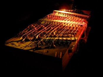 dulcimer in the studio under colored stagelights